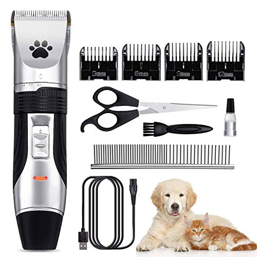 Focuspet Cortapelos para Perro, Profesionales para Perros Gatos Mascotas, Bajo Ruido Peine de Guía Ajustable Peluquería para Mascotas, Recortadora para Perros Clippers para Animal Belleza