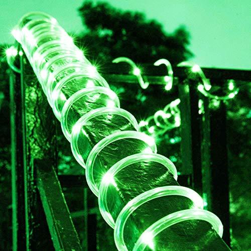 XUNATA LED Solar Lichterschlauch 5M 50 LEDs Lichter IP65 Wasserdicht Schlauchlicht Lichtschlauch für Garten, Weihnachten, Hochzeit, Party (Grün, 5m (50LEDs) + 2m lead cable)