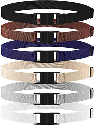 6 Pieces Invisible Belts No Show Women's Stretch Belt Adjustable Elastic Belts with Flat Buckle for Jeans Pants Dresses (Double-Side Buckle, Plastic)