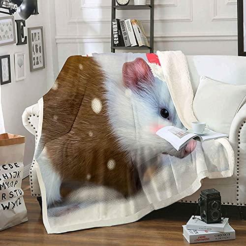 Manta de forro polar de Navidad, cobaya, sherpa, para niños, niñas, linda manta de felpa de animales para sofá cama C80 x 60 pulgadas