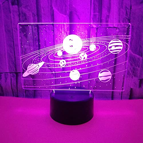 Yyhmkb Infantil Cama Lampara De Trabajo Ropero Lampara De Techo Dormitoriouniverso Toque Colorido 3D Luz Nocturna Crack Visión Estéreo Luz Nocturna 3D Luz Nocturna Estéreo