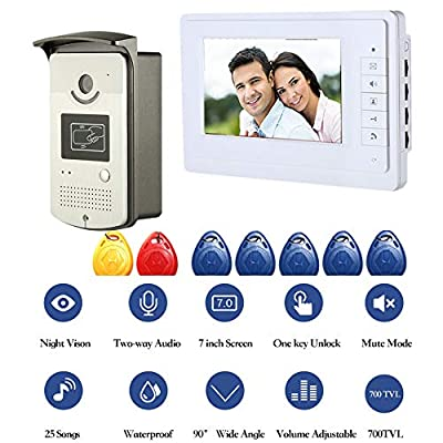 YHML Video Doorbell Wireless 7-Inch Color Video Doorbell Walkie-Talkie Wired Door Bell Home Security System with Night Vision and IP HD Camera