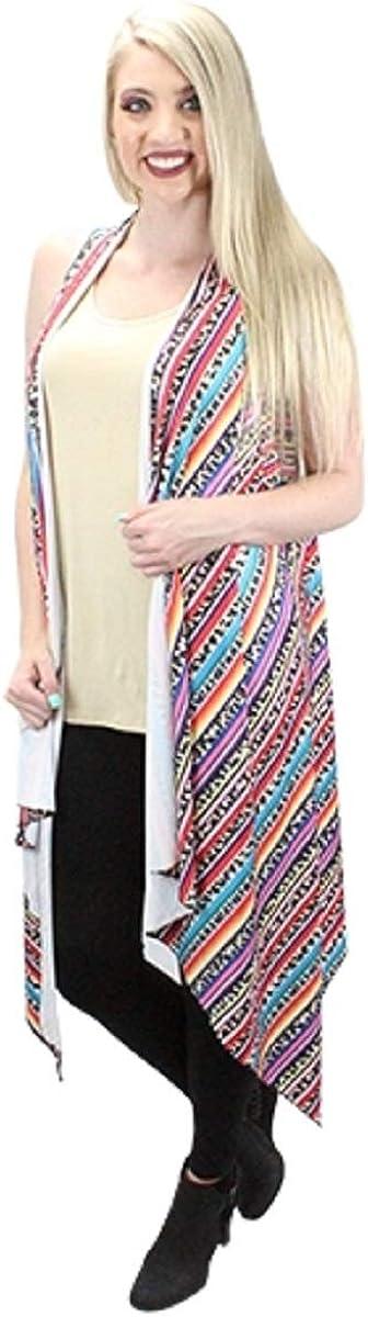 Sunshine&Rodeos Aztec Hippy Western Serape Stripe Ladies Cover Up Vest