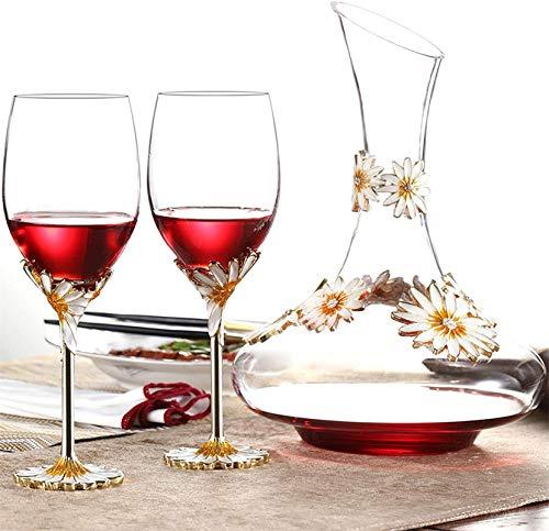 HCMNME Decantador de Vino de Cristal Hecho a Mano, Dispensador de Vino Esmalte Iris Crystal Vino de Vino Decantador Set Creative Sun Flower Tall Tap Regalos de Alta Gama Accesorios de Vino