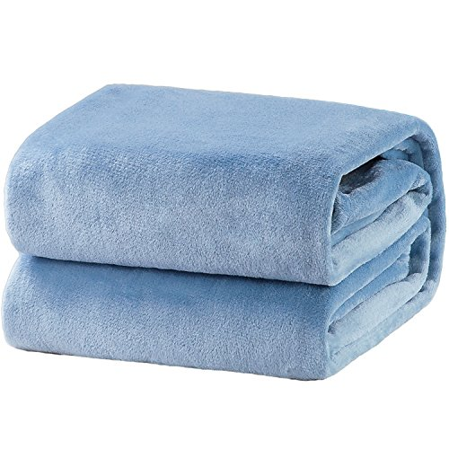 Bedsure Fleece Blankets Queen Size Washed Blue Lightweight Super Soft Cozy Luxury Bed Blanket Microfiber