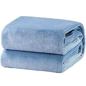 Bedsure Fleece Blanket Throw Size Washed Blue Lightweight Super Soft Cozy Luxury Bed Blanket Microfiber