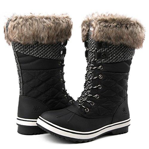 GLOBALWIN Women's 1730 Black Waterproof Winter Boots 9M US
