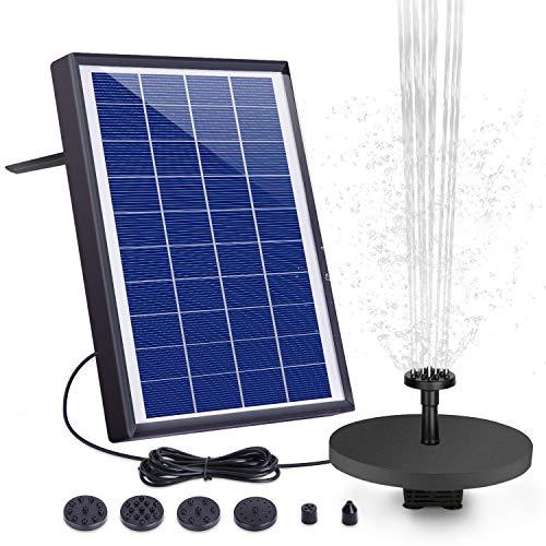 AISITIN Solar Fuente Bomba 6.5W Fuente de Jardín Solar Batería Incorporada con 6 Boquillas y Tabla Flotante para Pequeño Estanque Baño de Aves Fish Tank y Decoración del Jardín
