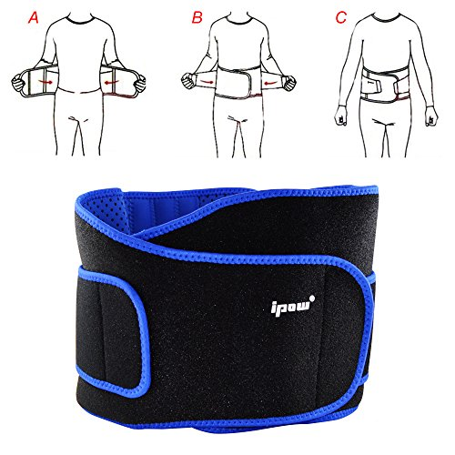 Ipow-Faja de Neopreno Adjustable para la Cintura/Espalda/Lumbar, Cinturón de protección para hombre y mujer, Color Negro con Azul