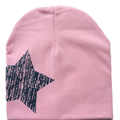kingko® Imprimer Étoile bébé Bonnet pour Chapeaux Garçons Filles Coton Bonnet Enfants d'hiver (Rose)