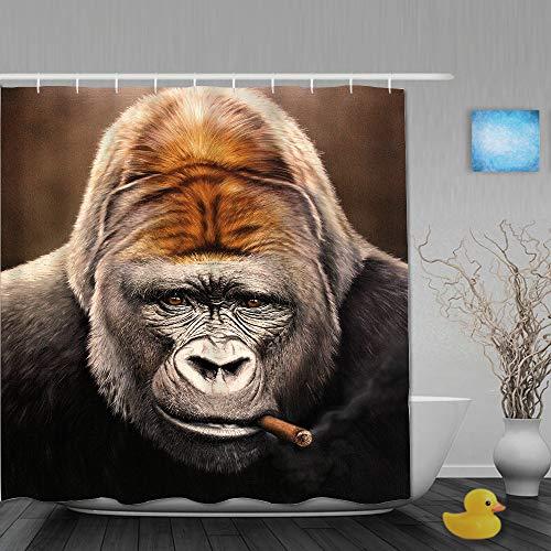SUHOM Duschvorhang,Affen Gorilla Schnauze Blick Zigarrengesicht,personalisierte Deko Badezimmer Vorhang,mit Haken,180 * 210