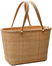 SWZJJ Rattan Storage Basket Outdoor Picnic Basket Supermarket Shopping Basket Portable Shopping Basket