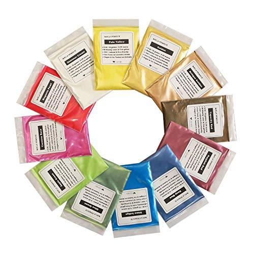 VITORY Pigment-Puder (12 Farben 10g / 0,35 unzen je) Huge mica Set metallic-Effekt für die epoxy-Harz-farbpigment - seifenherstellung kit - Bad bomben Colorant - Slime Supplies - Packung c