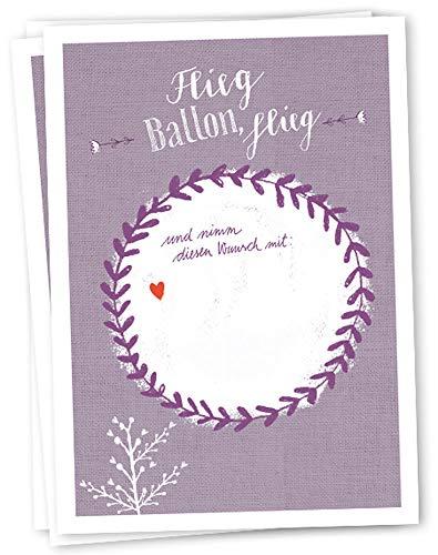 50 Ballonflugkarten - Flieg BALLON, flieg - für Hochzeit, Geburtstag, Taufe, Kommunion, Partyspiel mit Ballonkarten, lila weißes Design, extra leicht, 170 g Recyclingpapier, CO2 neutral