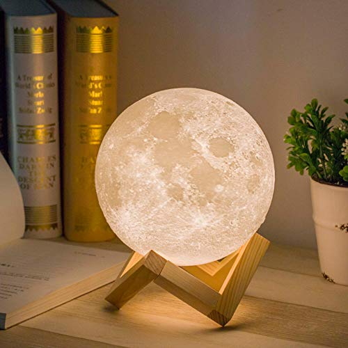 Mydethun Moon Lamp Moon Light Night Light for Kids Gift for Women USB Charging and Touch Control Brightness Warm and Cool White Lunar Lamp (5.9 inch)