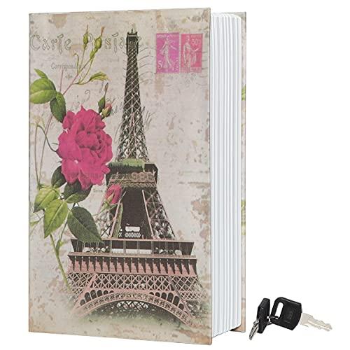 Diversion Book Safe Storage Box,Secret Safe Can with Security Key,Hidden Safe,Stash Safe Box, Secret Safe Containers for Money, Jewelry Documents or Valuables,Paris