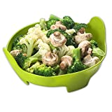 Liflicon Silicone Vegetable/Food Steamer Basket with Handles -φ8''x3.7''-Insert for Pot, Pans, Crock Pots- Multifunctional also as a colander-Microwave and Dishwasher Safe,Heat Resistant -Green
