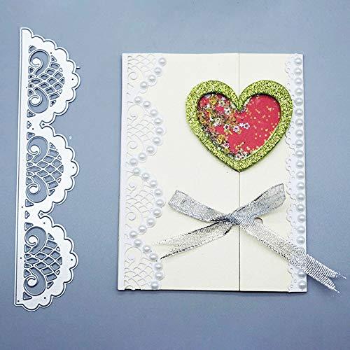 Zhouba Stanzschablonen für Kartenherstellung, Spitzenrand, für Bastelarbeiten, Scrapbooking, Papierkarten, Basteln, Schablone, Dekoration, silberfarben