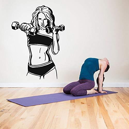Deportes fitness tatuajes de pared arte pegatinas de pared diseño de habitación mural decoración del hogar sala de estar gimnasio chica decoración del cuerpo papel tapiz