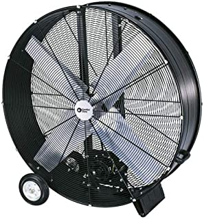 Comfort Zone CZMC42B High-Velocity Industrial Heavy Duty 2-Speed 2-Wheel Belt-Drive Drum Fan with Aluminum Blades – 42