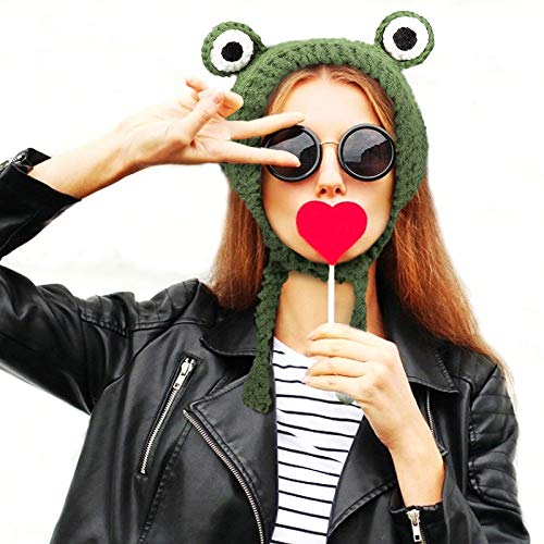 Passover Green Plush Frog Scarf Cap- Knitted Woolen Frog Eye Beanie Hat Novelty Dress up Cosplay Costume Accessories Photo Props Party Favors for Women Ladies 3+ Years Girls Boys Holiday Pres