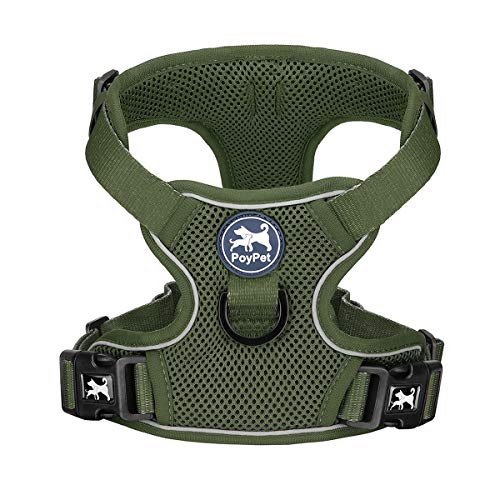 PoyPet Reflective Soft Breathable Mesh Dog Harness Choke-Free Double Padded Vest with Adjustable Neck and Chest(Military Green,S)