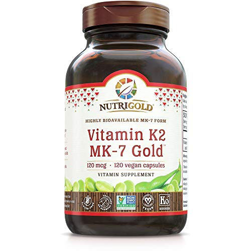 Nutrigold Vitamin K2 MK7 Supplement, 120 Capsules, Bone and Heart Support, Non-GMO, Vegan, Kosher Vitamin K Supplement with MK-7 (Vitamin K2 MK-7)