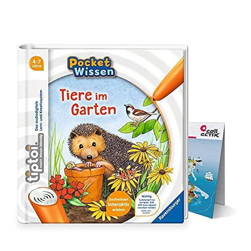 tiptoi Ravensburger Buch 4-7 Jahre | Pocket Wissen - Tiere im Garten + Kinder Weltkarte Ausdruck | Pocketwissen, Tip TOI