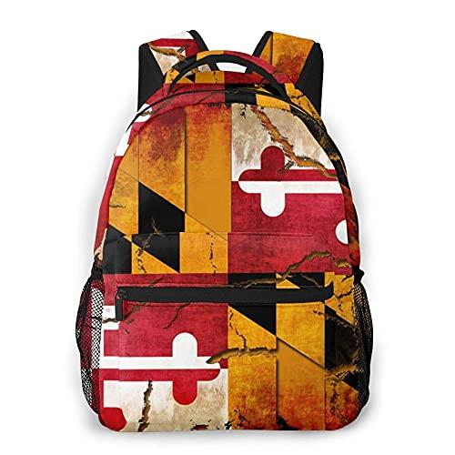AOOEDM vintage in legno maryland bandiera moda casual zaino portatile borsa da viaggio, zaino per computer portatile, grande capacit?e borsa da scuola durevole, zaino sportivo all'aperto ?un regalo