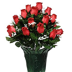 Sympathy Silks Memorial Artificial Flowers Weighted Pot Bouquet Decoration – Height 18″-20″ – Artificial Greenery – Fade Resistant – Red Rose Potted Silk