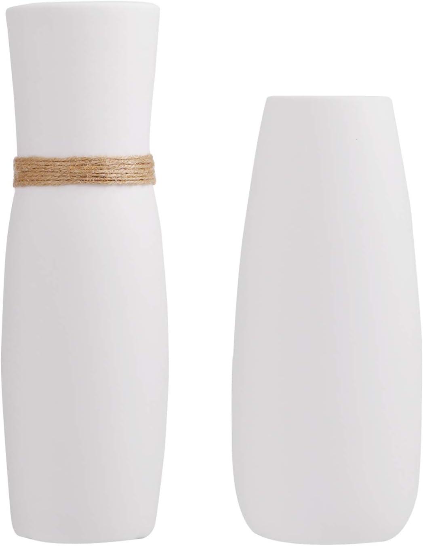 FanChose 2 Pack Ceramic Ranking TOP10 White Nashville-Davidson Mall Vintage Vases Minimalist