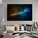 YuanMinglu Quadro su Tela Moderno Astratto Arte della Parete Paesaggio Poster e Stampe Cielo Stellato Universo Nuvola Soggiorno Foto Frameless Pittura 60X90CM