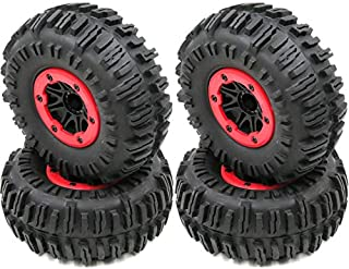 4pcs RC 2.2 Rock Crawler Tire Mud Terrain tyre Height 130mm & 2.2 Beadlock Wheel Rim Hex 12mm