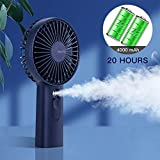 Handheld Misting Mini Fan, 4000 mAh Battery Operated or USB Powered Portable Fan with Cooling Humidifier, 5-20 Hours Battery Life, Water Spray Fan, 3 Setting,Quiet Air Conditioner for Travel and Women