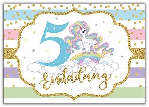 Junaversum 12 Einladungskarten zum 5. Kindergeburtstag Mädchen Einhorn Regenbogen Einladungen fünfte Geburtstag