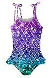 Girl One Piece Bathing Suit Ruffle Off Shoulder Swimsuit Purple Mermaid Scales Cute Print Summer Bikini Swimwear 8-9 Years