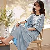 Vestido de Verano Ropa de Dormir de algodón Modal Corto para Mujer Ropa de Dormir Ropa de Dormir PJs Pijamas cómodos Que se Pueden Usar afuera-2XL_62.5-70KG