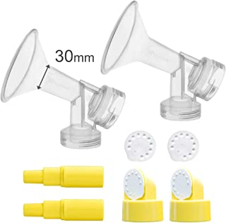 30 mm Extra Large Flagne w/Valve and Membrane for Spectra Breast Pumps S1, S2, M1, Spectra 9; Narrow (Standard) Bottle Neck; Made by Maymom