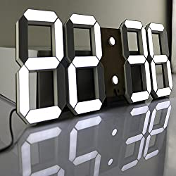 CO-Z Multi-Functional Remote Control Large 17.3 X 6.3 X 0.6 Inches LED Digital Wall Clock with Countdown Timer Temperature Date (Black Shell White Digital)