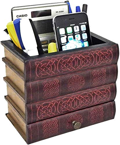 Bellaa 21406 Pen Pencil Holder Cell Phone Stand Desk Office Organizer Container Cup Pot Multi Purpose Caddy Celtic Knot Book (Brown celtic)