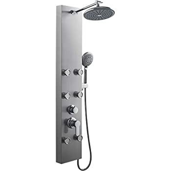 ROVOGO 304 Stainless Steel Shower Panel Tower System, 8-inch Rainfall Shower Head + 6 Powerful Body Massage Spray + 5 Function Handheld Showerhead, Brass Valve with Vertical adjustable Shower Arm