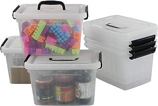 Bblie Lot De 6 Boîtes De Rangement En Plastique Transparent Avec Couvercles