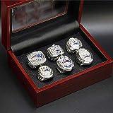 NFL pour 2001-2018 New England Patriots 6 pièces de championnat set réplique Super Bowl 9-13 pleine taille Fan souvenirs mouvement rugby Bague avec boîte en bois, 40