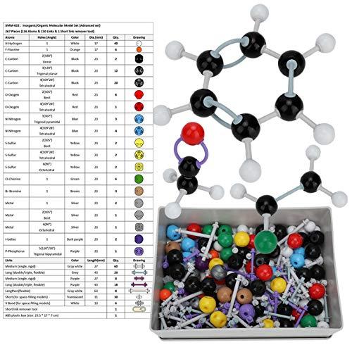 Kit modello molecolare - 267 pezzi Kit struttura inorganica organica Modello elettronico orbitale Strumento di aiuto chimico Modello di collegamento Set studente