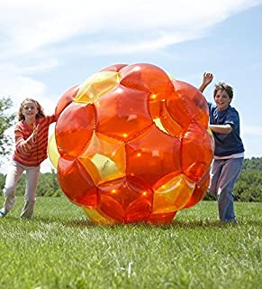 Orange and Yellow Incred-a-Ball GBOP Great Big Outdoor Play Inflatable Blow Up Bubble Soccer Zorb Ball Heavy Duty Durable PVC Vinyl 65''