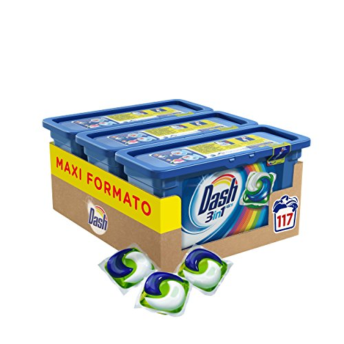 Dash Behälter 3-in-1-Waschmittelpads für Waschmaschine, dosierbar Speicher-Farben 117 Capsule