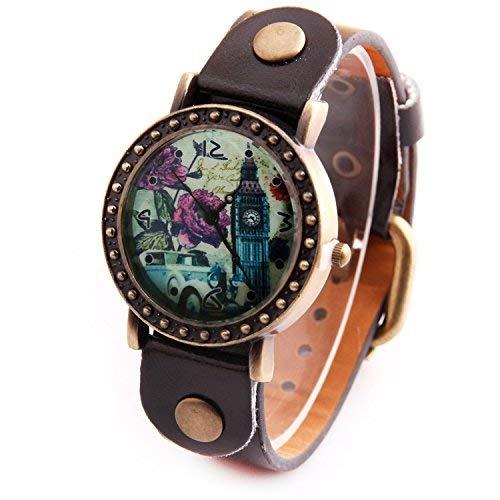 """Sataanreaper Presents Cuero De La Manera De Londres """"Big Ben"""" Dial Redondo Reloj De Pulsera Analógico para Niñas #Sr-1188"""
