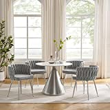 Art Leon Set of 4 Modern Woven Linen Fabric Upholstered Dining Chairs with Silver Stainless Steel Frame, Accent Chairs for Living Room, Light Gray