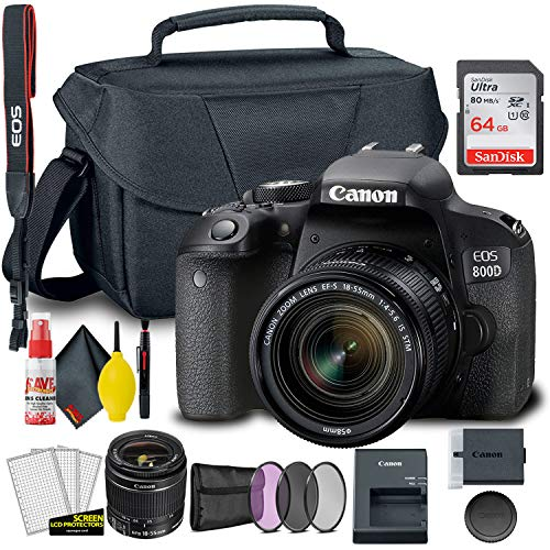 Canon EOS 800D / Rebel T7i DSLR Camera with 18-55mm Lens + Creative Filter Set, EOS Camera Bag + Sandisk Ultra 64GB Card + Electronics Cleaning Set, and More (International Model)