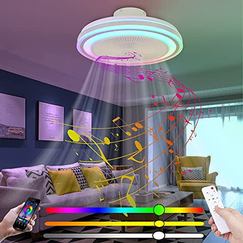 Plafon LED Ventilado Techo con Luz Infantil Silencioso Mando a Distancia Pequeño Inspire Color Air RGB Bluetooth Altavoz Lampara Ventilador de Techo con Iluminación Regulable Circulos Dormitorio